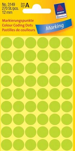Avery Ronde etiketten diameter 12 mm, lichtgroen, 270 stuks