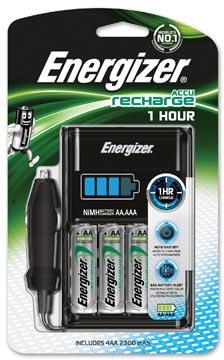 Energizer 1 uur oplader met auto adapter + 4 x aa batterijen op blister