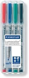 Staedtler OHP-marker Lumocolor Non-Permanent geassorteerde kleuren, box met 4 stuks, medium 1 mm
