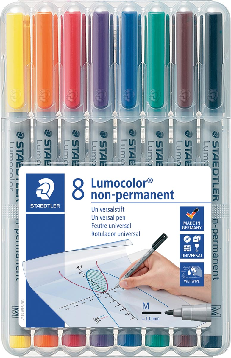Staedtler OHP-marker Lumocolor non-permanent, medium 1 mm, doos van 8 stuks in geassorteerde kleuren