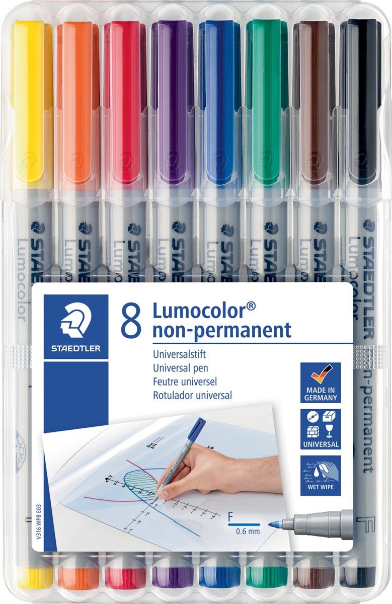 Staedtler OHP-marker Lumocolor non-permanent, fijn 0,6 mm, doos van 8 stuks in geassorteerde kleuren