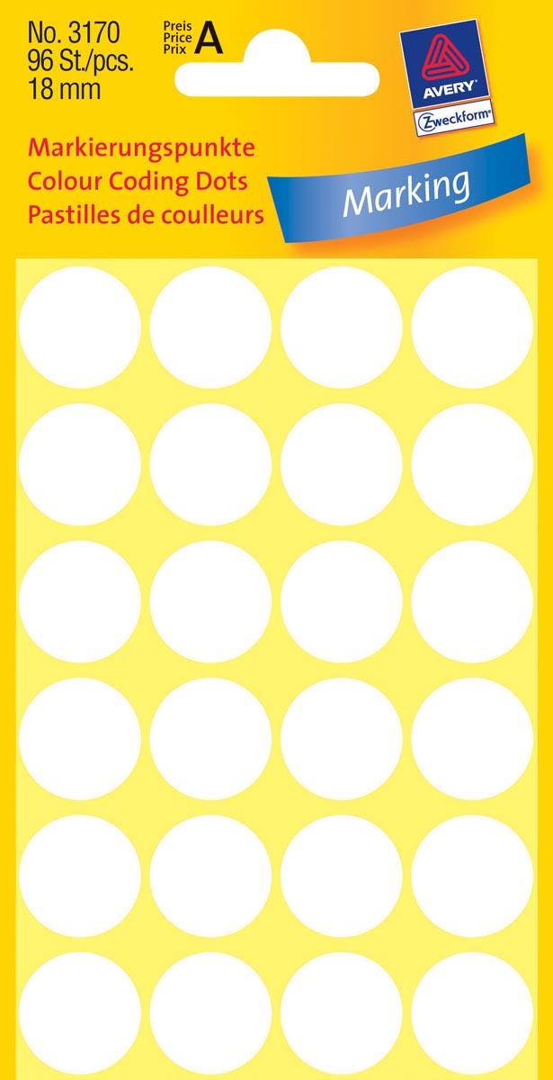 Avery Ronde etiketten diameter 18 mm, wit, 96 stuks