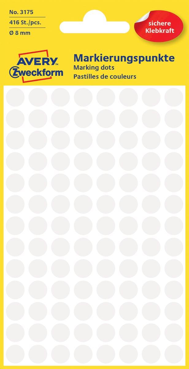 Avery Ronde etiketten diameter 8 mm, wit, 416 stuks