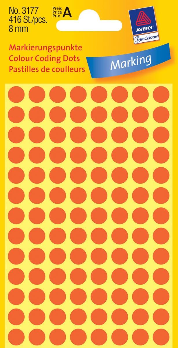 Avery Ronde etiketten diameter 8 mm, lichtrood, 416 stuks