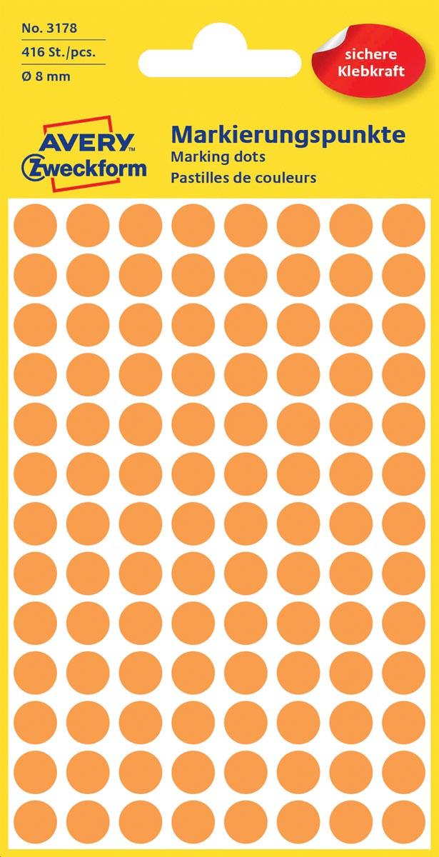 Avery Ronde etiketten diameter 8 mm, lichtoranje, 416 stuks
