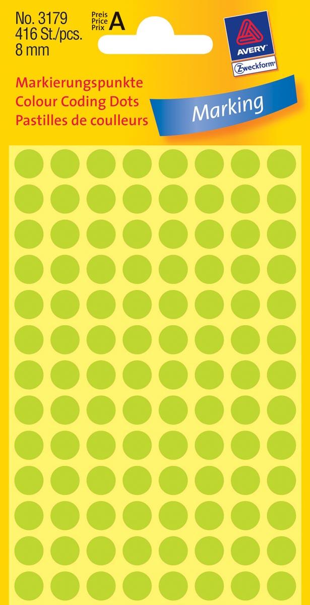 Avery Ronde etiketten diameter 8 mm, lichtgroen, 416 stuks