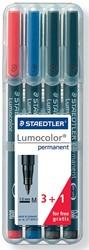 Staedtler OHP-marker Lumocolor Permanent geassorteerde kleuren, box met 4 stuks, medium 1 mm