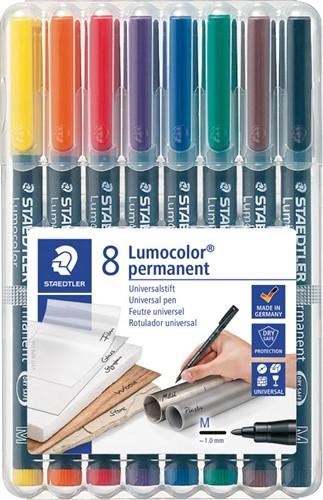 Staedtler OHP-marker Lumocolor Permanent geassorteerde kleuren, box met 8 stuks, medium 1 mm