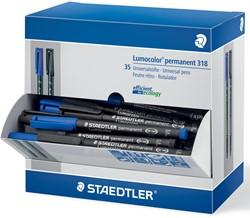Staedtler OHP-marker Lumocolor permanent fijn, zwart en blauw, doos van 30 + 5 stuks gratis