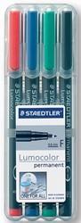 Staedtler OHP-marker Lumocolor Permanent geassorteerde kleuren, box met 4 stuks, fijn 0,6 mm