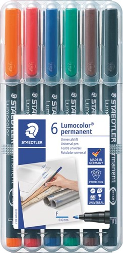 Staedtler OHP-marker Lumocolor Permanent geassorteerde kleuren, box met 6 stuks, fijn 0,6 mm