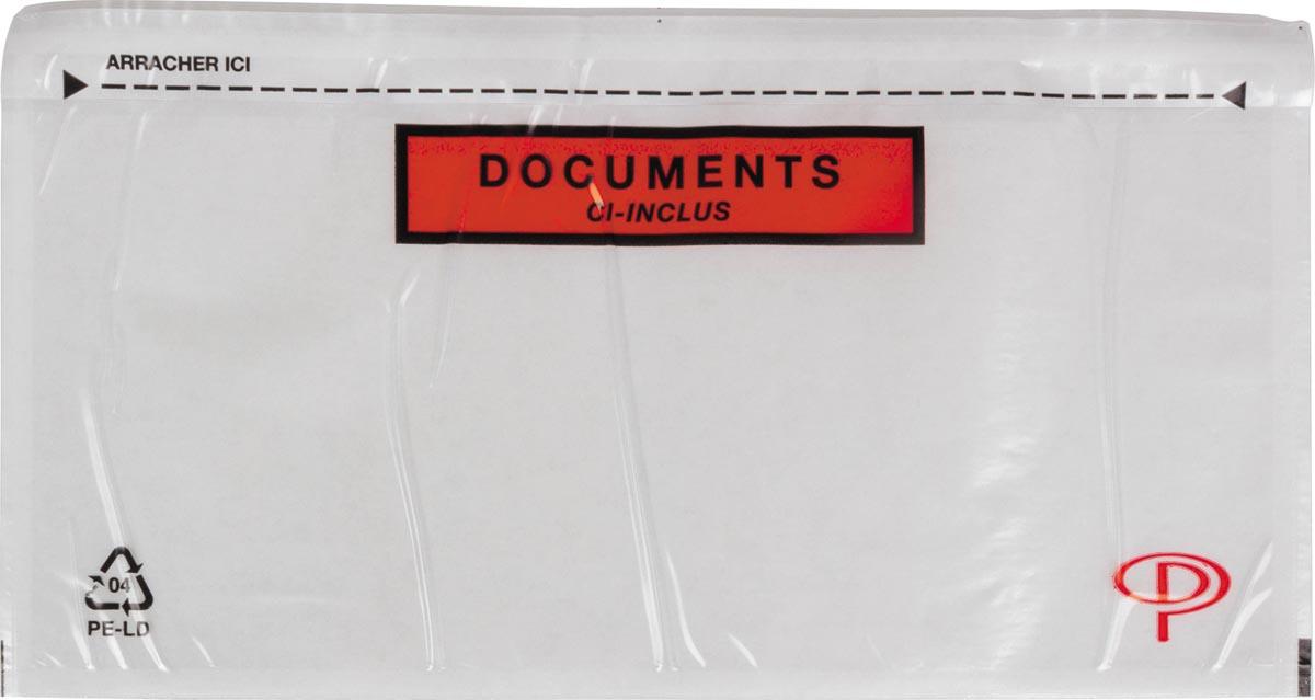 Pergamy documentmapje transparant, Ft DL: 225 x 115 mm, doos van 100 stuks