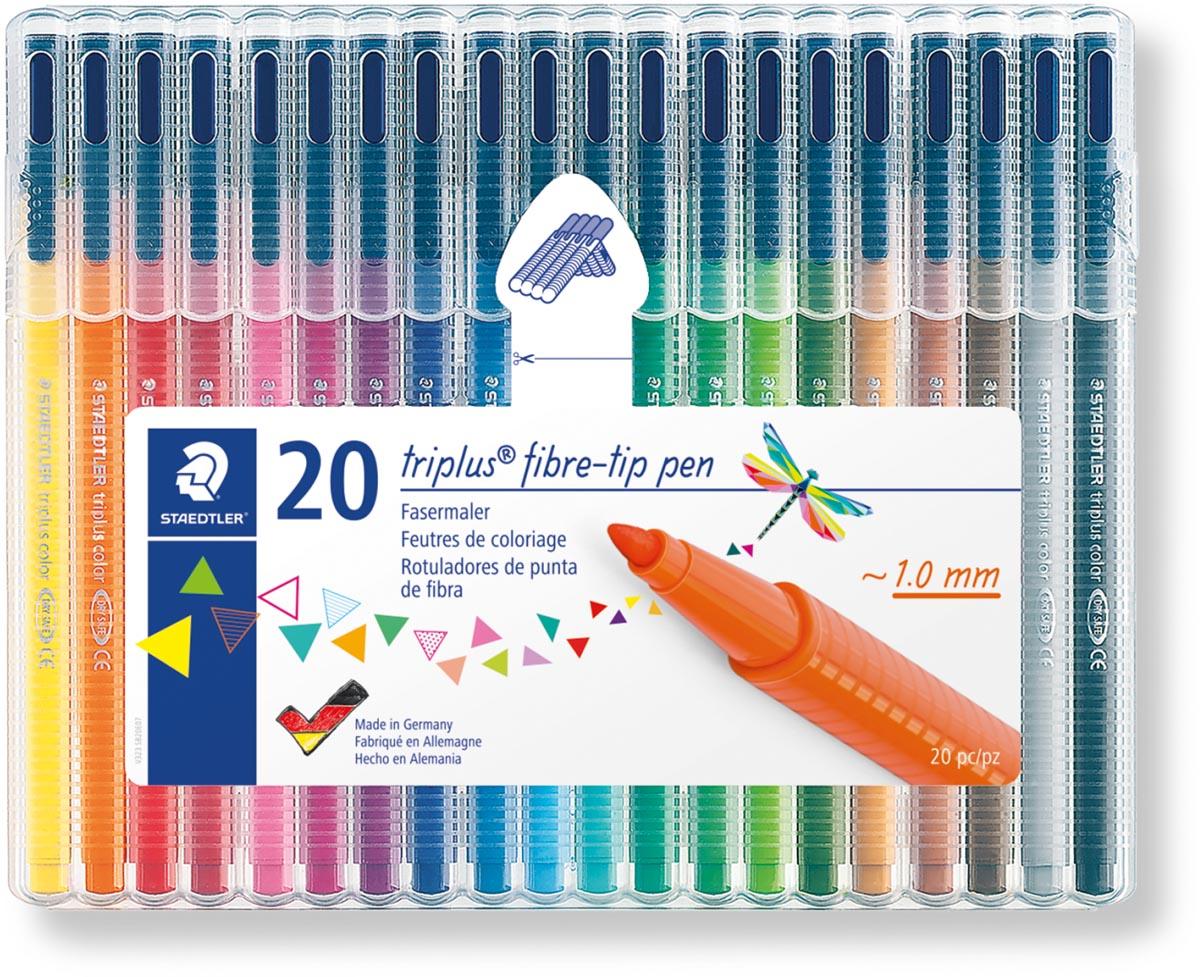 Staedtler viltstift Triplus Color, opstelbare box met 20 kleuren
