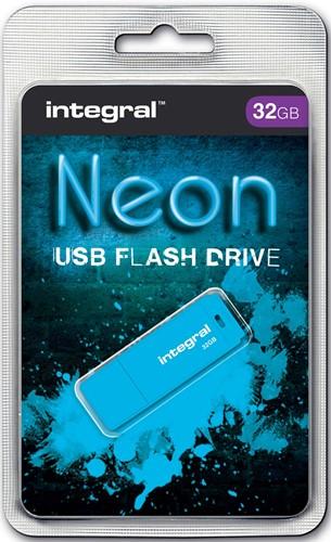 Integral Neon USB 2.0 stick, 32 GB, blauw