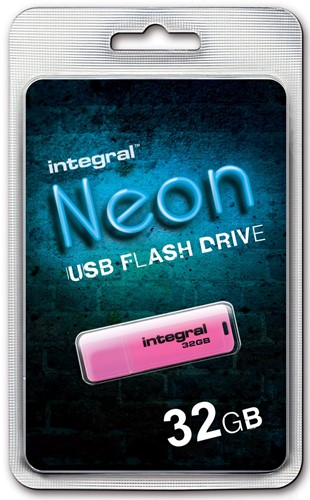 Integral Neon USB 2.0 stick, 32 GB, roze