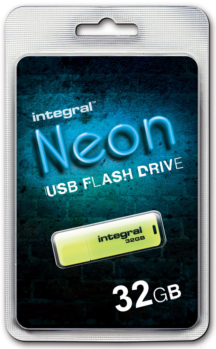 Integral Neon USB 2.0 stick, 32 GB, geel
