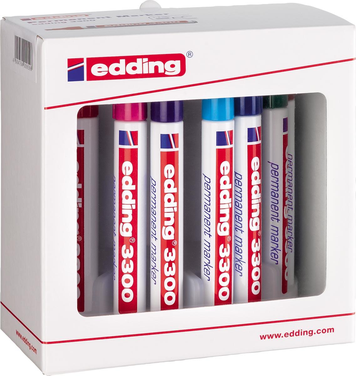 Edding permanent marker e-3300 doos van 10 stuks in geassorteerde kleuren