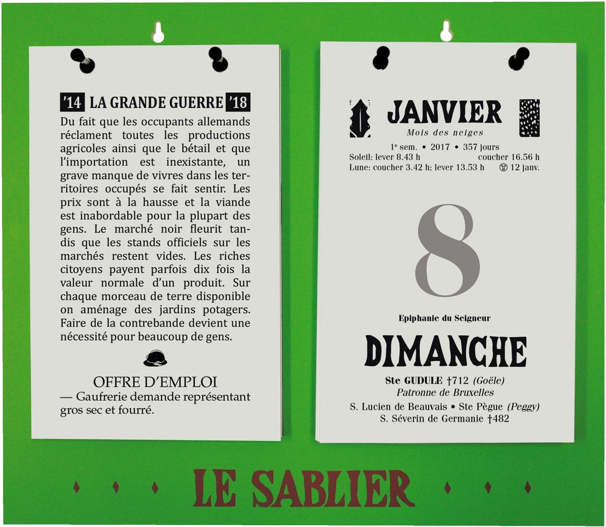 Dagblokkalender Le Sablier Géant, ft A4, Franstalig, 2022