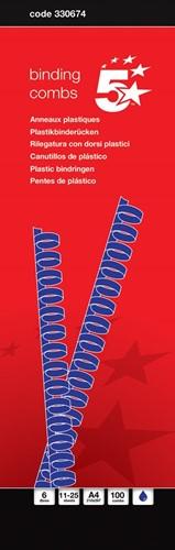 5 Star bindruggen, doos van 100 stuks, 6 mm, blauw