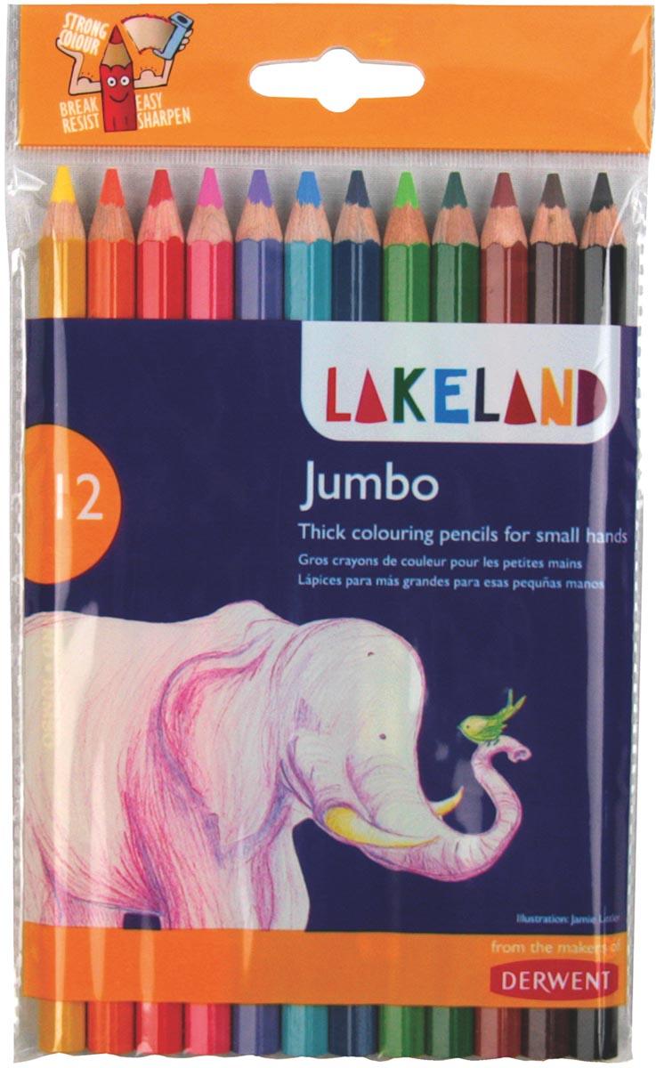 Lakeland kleurpotloden Jumbo, pak van 12 stuks in geassorteerde kleuren