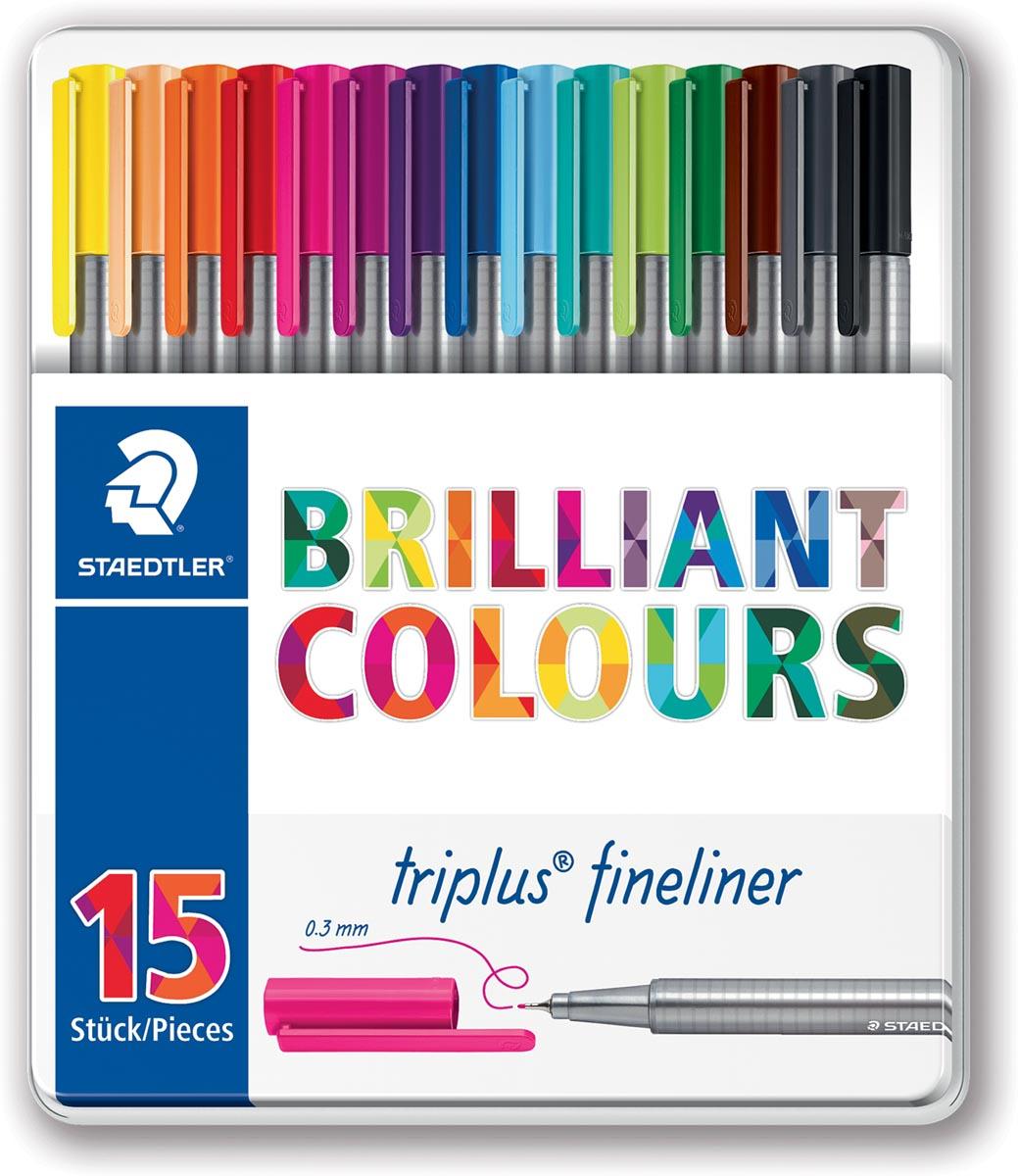 Staedtler fineliner Triplus, metalen doos met 15 stuks in geassorteerde kleuren