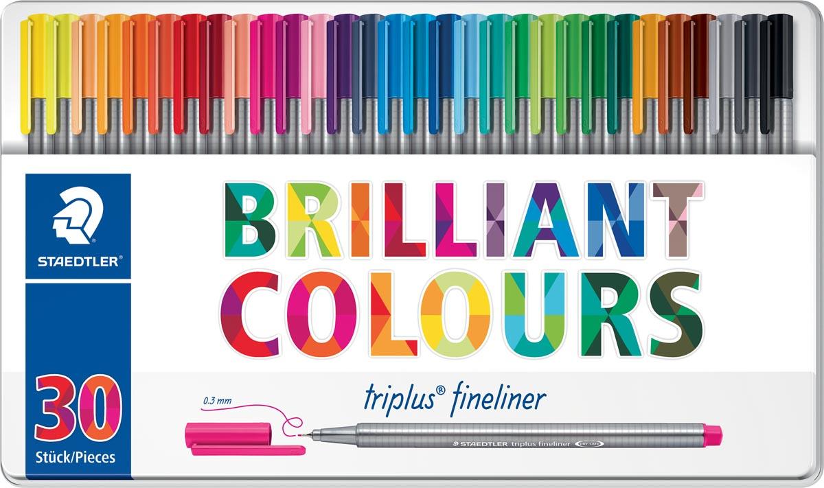 Staedtler fineliner Triplus, metalen doos met 30 stuks in geassorteerde kleuren
