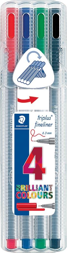 Staedtler fineliner Triplus geassorteerde kleuren, opstelbare box met 4 stuks