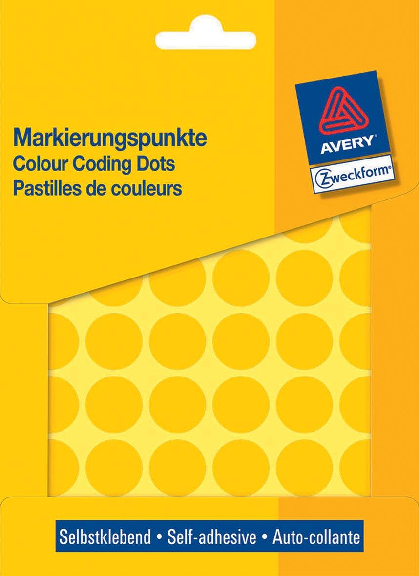 Avery Ronde etiketten diameter 18 mm, geel, 1.056 stuks