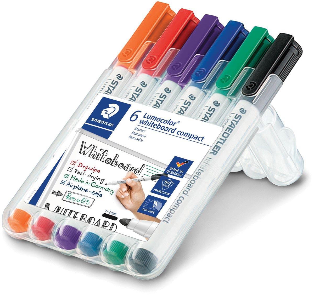 Staedtler whiteboardmarker Lumocolor Compact, opstelbare box met 6 stuks in geassorteerde kleuren