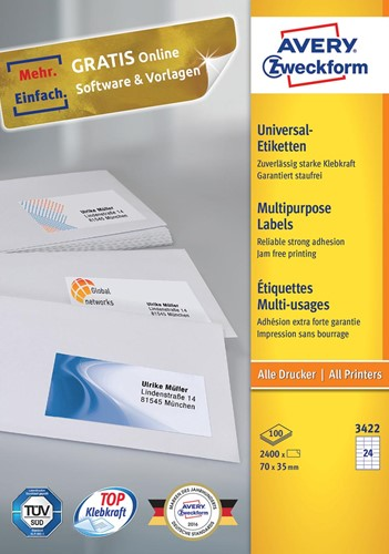Avery Zweckform 3422, Universele etiketten, Ultragrip, wit, 100 vellen, 24 per vel, 70 x 35 mm