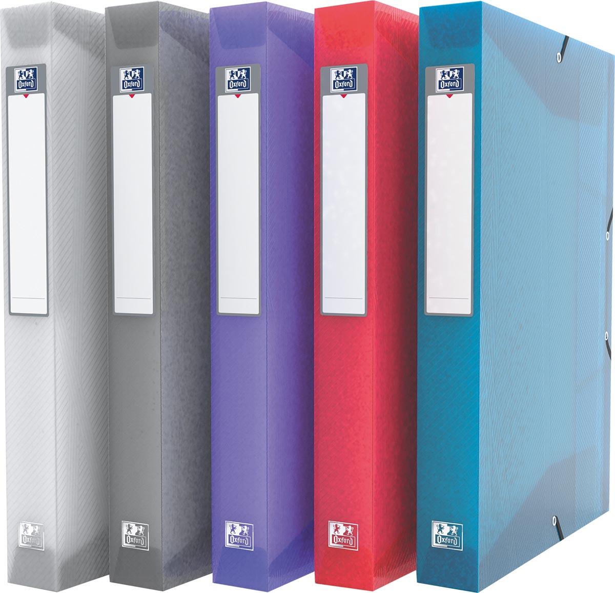 Oxford Hawaï elastobox, voor ft A4, rug van 4 cm, uit PP, geassorteerde kleuren, pak van 6 stuks
