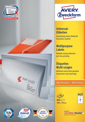 Avery Zweckform 3427, Universele etiketten, Ultragrip, wit, 100 vellen, 8 per vel, 105 x 74 mm