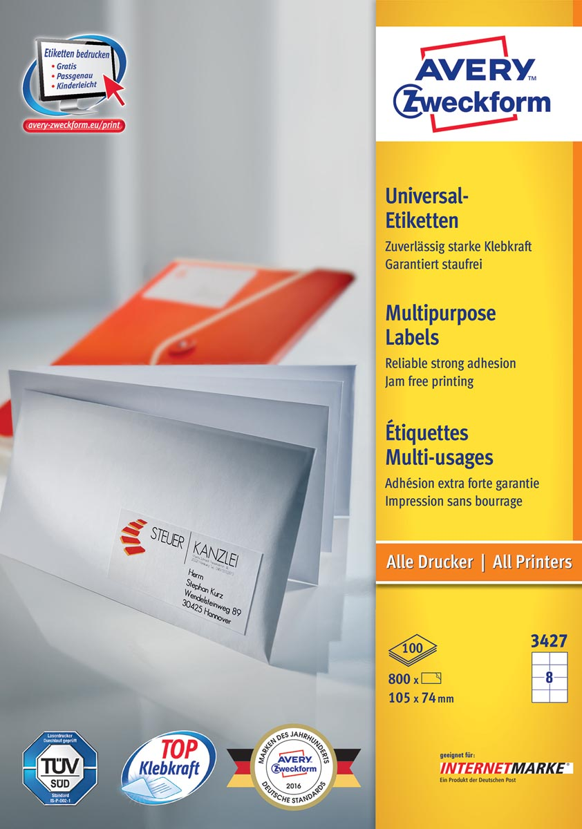 Avery Zweckform 3427, Universele etiketten, Ultragrip, wit, 100 vel, 8 per vel, 105 x 74 mm