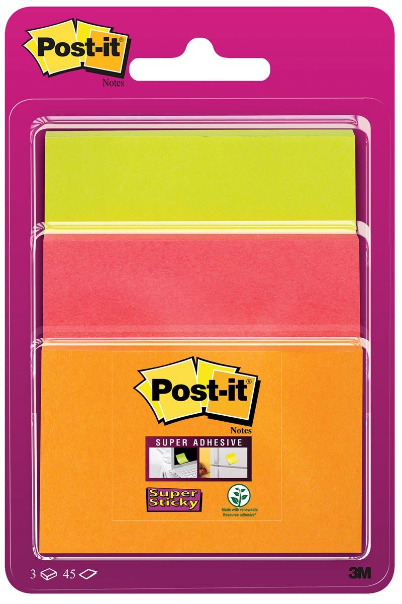 Post-it Super Sticky notes, 3 formaten, geassorteerde neon kleuren, blok van 45 vel, op blister