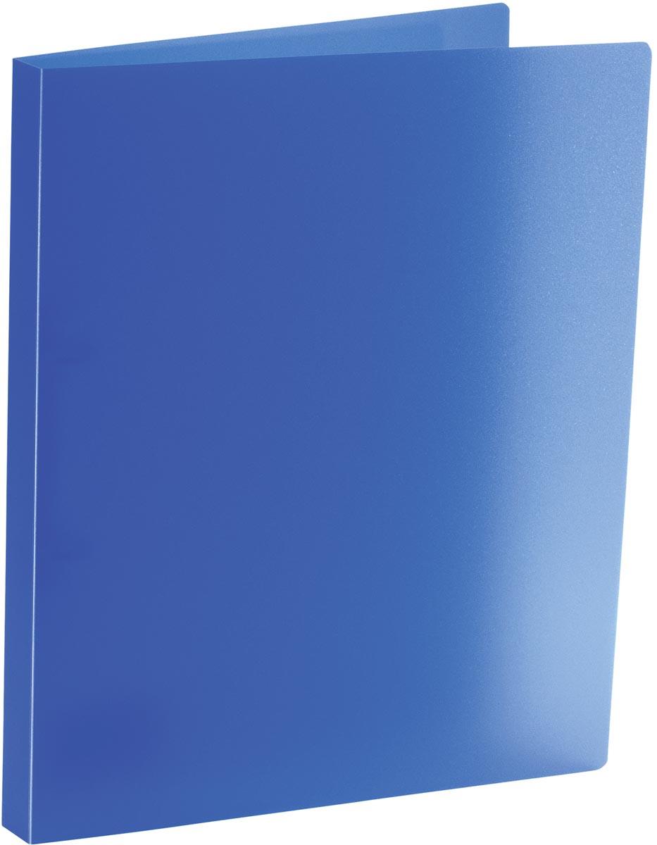 Bronyl ringmap, voor ft A4, uit PP, 2 D-ringen van 15 mm, transparant blauw