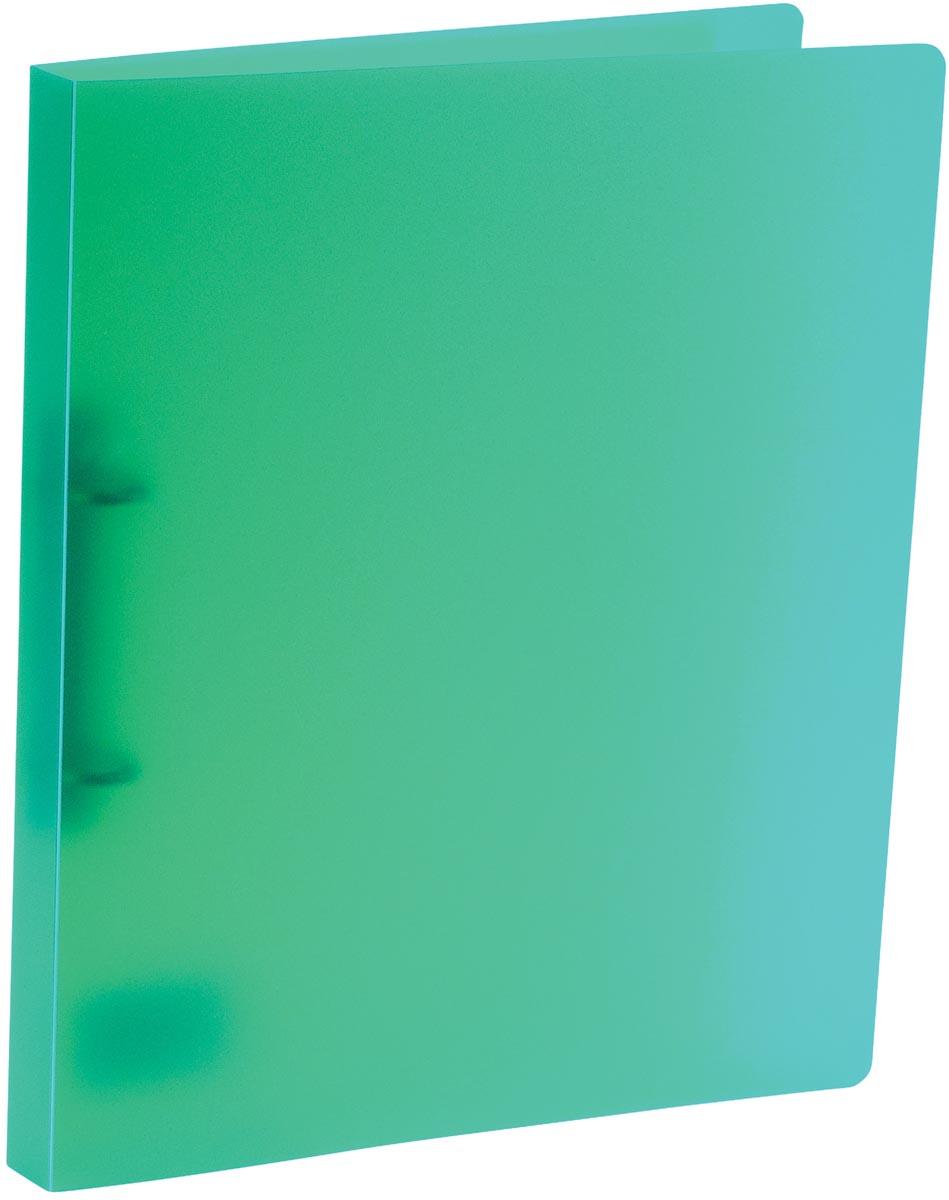 Bronyl ringmap, voor ft A4, uit PP, 2 D-ringen van 15 mm, transparant groen