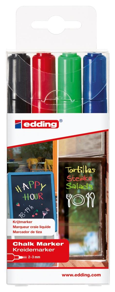 Edding krijtmarker e-4095, geassorteerde kleuren, etui van 4 stuks