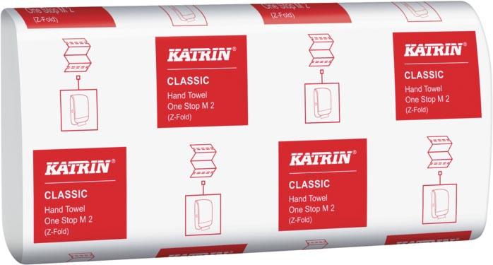 Katrin gevouwen papieren handdoeken voor dispenser, 2-laags, wikkel van 160 vel, pak van 21 wikkels
