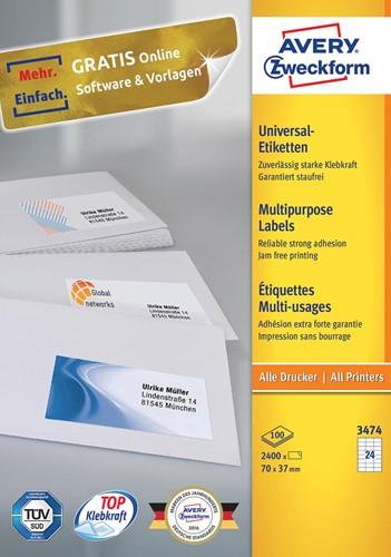 Avery Zweckform 3474, Universele etiketten, Ultragrip, wit, 100 vellen, 24 per vel, 70 x 37 mm