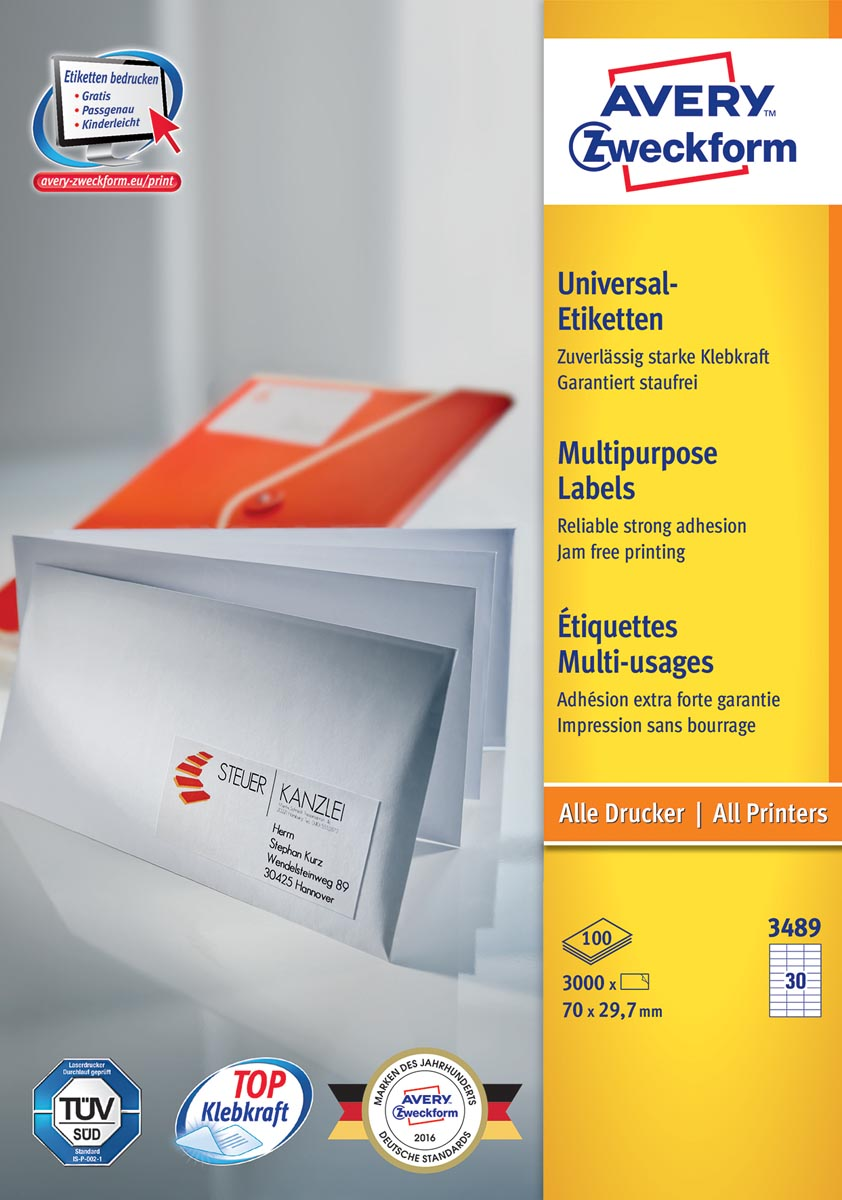 Avery Zweckform 3489, Universele etiketten, Ultragrip, wit, 100 vel, 30 per vel, 70 x 29,7 mm