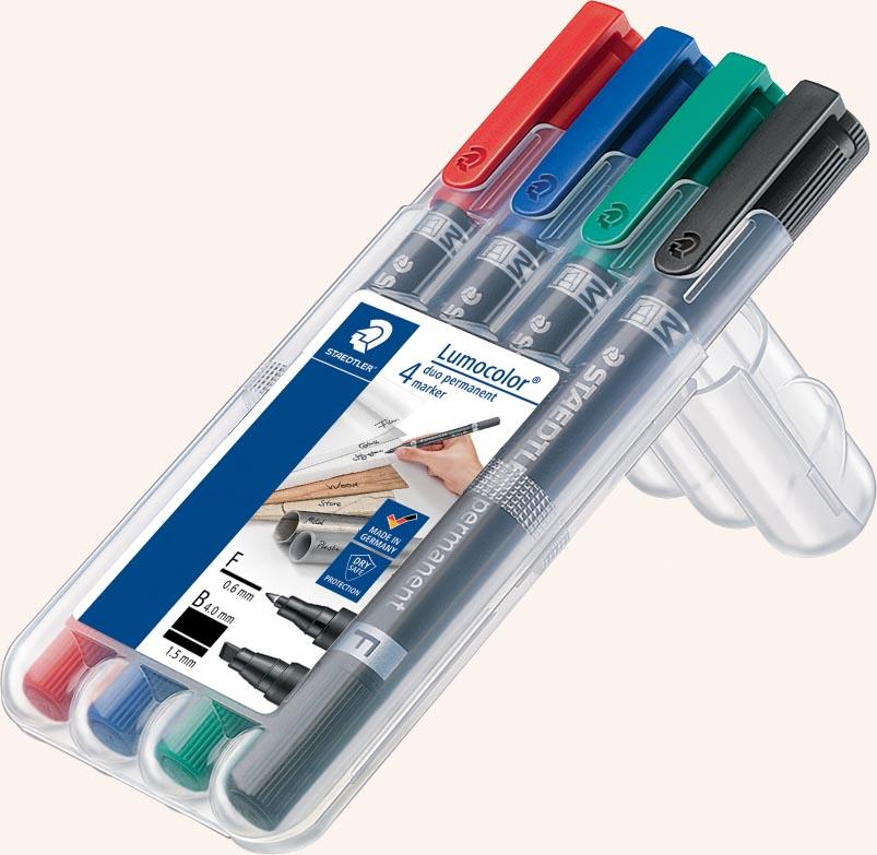 Staedtler permanente marker Lumocolor Duo, beitelpunt, etui van 4 stuks in geassorteerde kleuren