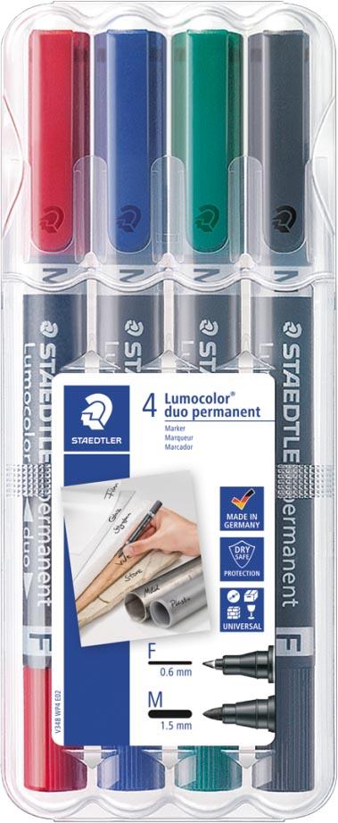Staedtler Lumocolor permanent duo, doos van 4 stuks in geassorteerde kleuren