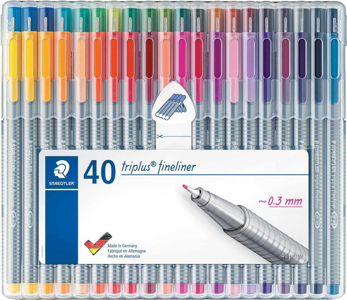 Staedtler fineliner Triplus, opstelbare box met 40 kleuren