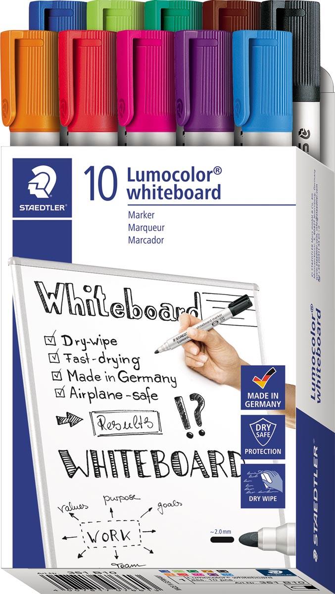 Staedtler Lumocolor whiteboardmarker, doos van 10 stuks in geassorteerde kleuren