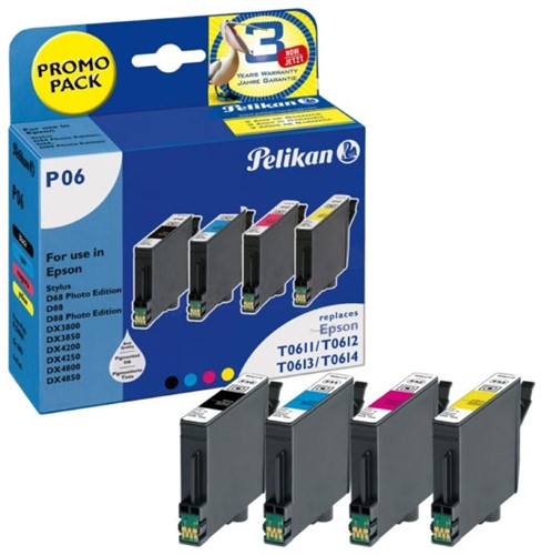Pelikan inktcartridge 4 kleuren, 250 pagina's voor Epson T0615 - OEM: C13T06154010