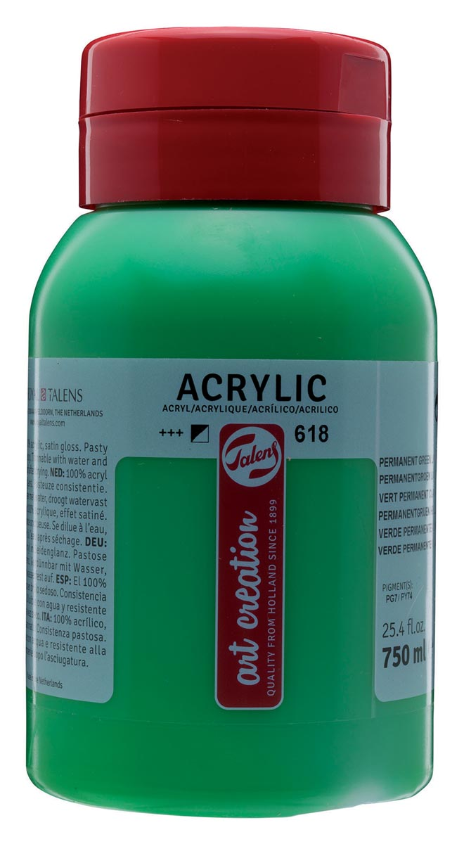 Talens Art Creation acrylverf flacon van 750 ml, licht permanentgroen