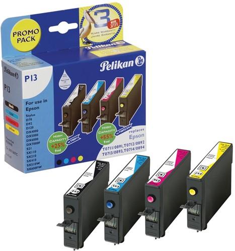 Pelikan inktcartridge 4 kleuren, 250 - 415 pagina's voor Epson T0715 - OEM: C13T07154010