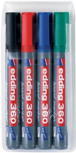 edding whiteboardmarker 360, etui met 4 stuks in geassorteerde kleuren