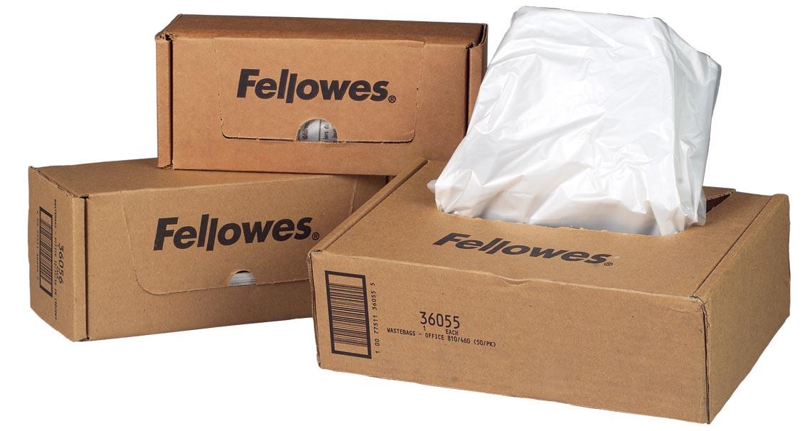 Fellowes opvangzakken van 94 liter voor papiervernietigers, pak van 50 zakken
