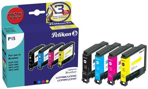 Pelikan inktcartridge 4 kleuren, 300 pagina's voor Brother - OEM: LC970VALBP